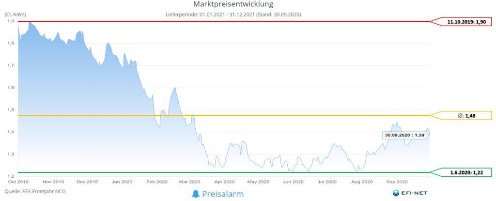 MarktpreisentwicklungGasMonate