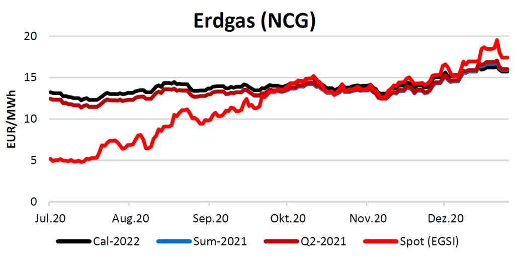Erdgaspreise am 7.1.2021