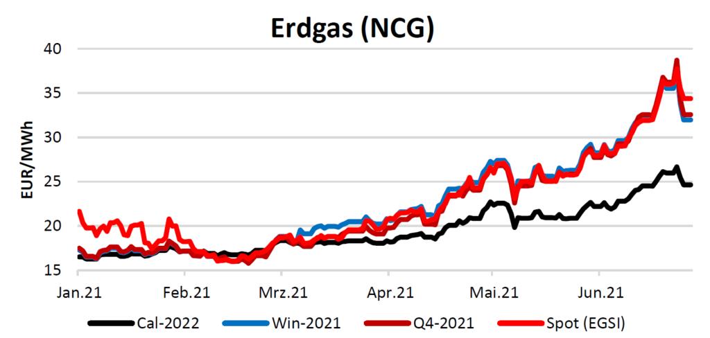 Erdgaspreise am 08.07.2021