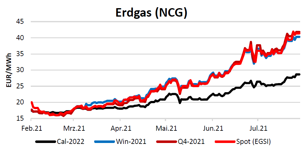 Erdgaspreise am 05.08.2021