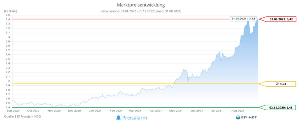Marktpreisentwicklung Gas 12 Monate (Stand 01.09.2021)