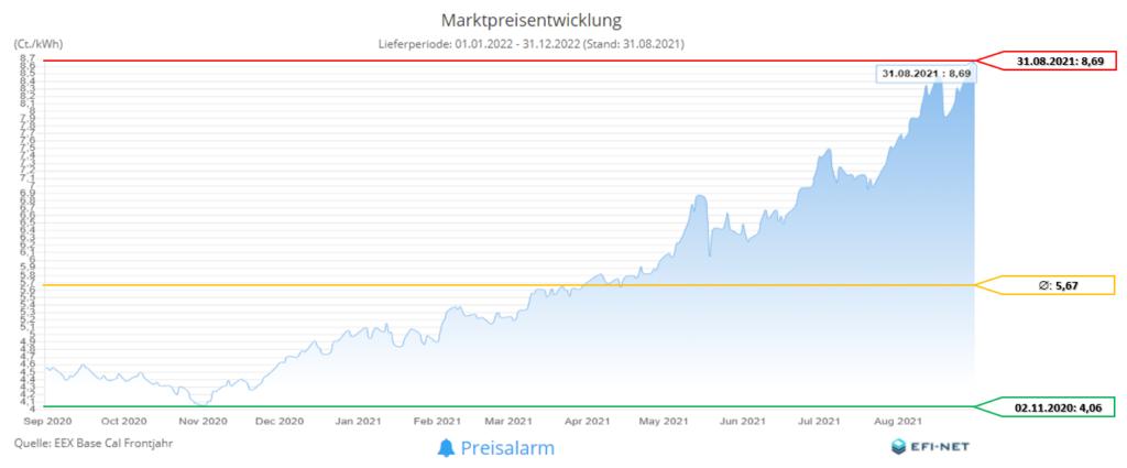 Marktpreisentwicklung Strom 12 Monate (Stand 01.09.2021)